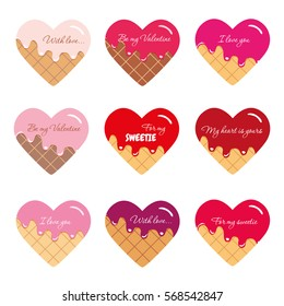 Valentine s day stickers. Waffle hearts with melted cream and red syrup. Bright and pastel colors. Isolated on white.