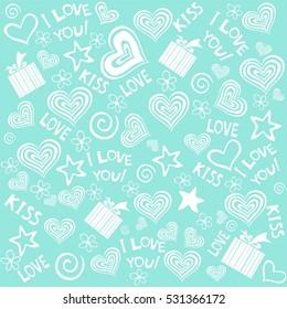 Valentine seamless hearts pattern. Vector Illustration