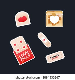 Valentine Sticker Pack. Modern Flat Vector Concept Illustrations. Envelop, Bread Toast with Heart Shape in the Middle, Patch, Love Pills, Ticket. Social Media Ads.