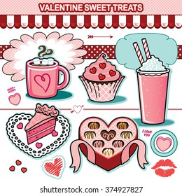Valentine sweet treats illustration collection chocolates cupcake candy cake hearts