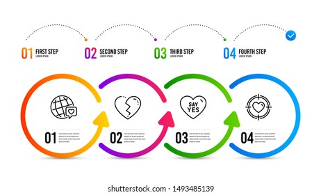 Valentine target sign. Infographics timeline. Broken heart, Say yes and World brand line icons set. Love end, Wedding, Love. Heart in aim. Love set. Broken heart icon. Timeline diagram. Vector