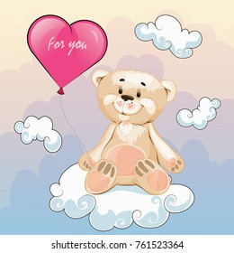 valentine, teddy bear with a balloon in the shape of a heart in the sky around the cloud