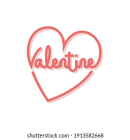 Valentine text, hand lettering typography poster on red gradient background, valentine