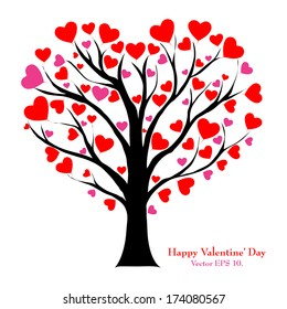 Valentine Tree with Love Heart, Valentine' Day concept, Vector Illustration EPS 10.