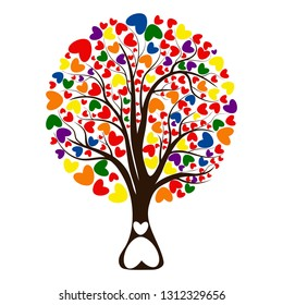 Valentine tree, love, leaf from hearts. Isolated on white background. Tree with roots. Vector Illustration
