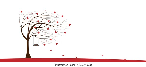 Valentine tree with red heart leaves and couple Kingfisher bird standing on swing on white background, Single Love tree blowing by the wind. Vector minimal greeting card for Valentine or Wedding