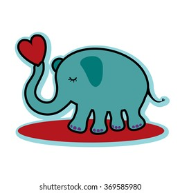 Valentine valentine's day cute elephant holding red heart