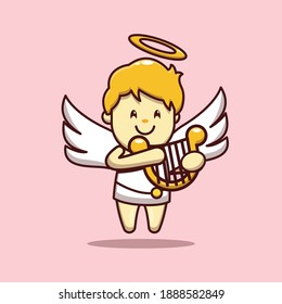 valentine vector character design of cute cupid playing harp