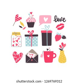Valentine vector elements. Romantic set with hearts, cup, cupcake, envelope, flovers, kiss, candies and gift box on a white background.