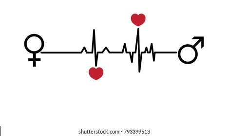 Valentine vector illustration. Love hearts, EKG line. Woman and man love. Valentine's day card.
