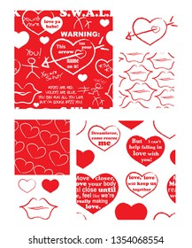 Valentine vector repeat patterns and icons