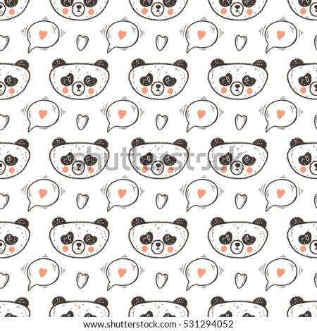 0c654c1ffa62 Valentine Vector Seamless pattern with Cute Baby Panda. Endless Background  with Pandas
