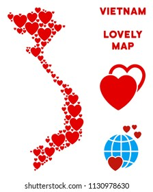 Valentine Vietnam map collage of red hearts. We like Vietnam map concept. Abstract vector territory scheme is composed from red valentine symbols.