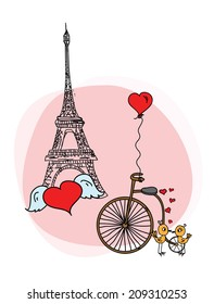 Фотообои Valentine or wedding doodle background
