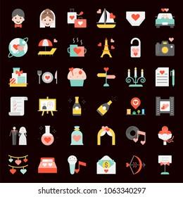 Valentine, Wedding and honeymoon icon set, flat icon