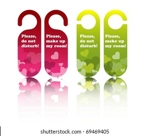 Valentine or wedding hotel door tags, vector