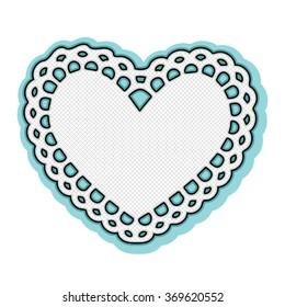 Valentine white heart doily frame
