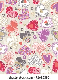 valentines background with  color hearts, vector illustration