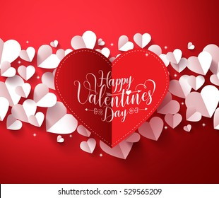 Valentines Background concept in red color with happy valentines day greetings card  in paper cut red heart with white hearts elements. Vector illustration.