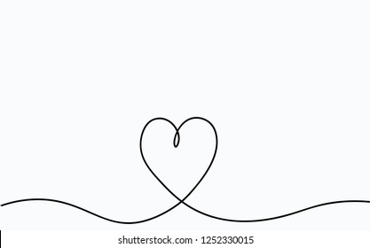 Valentines background with pink love heart one line drawing. Vector illustration.