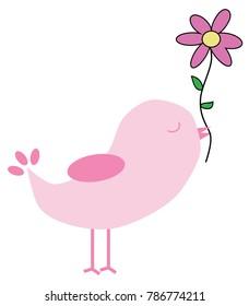 Valentines Bird with Flower