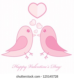 Valentines birds with hearts. Vector illustration.