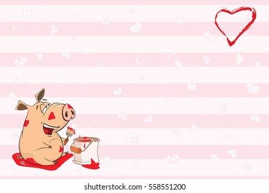 Valentine's card for 14 February with a Cute Pig. Vector illustration
