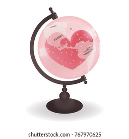 Valentines card with America and South America map on the globe with heart inside the transparent globe. Sweet color for Valentine's day. Vector illustration.