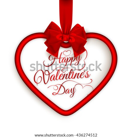 Valentines Card Background Hanging Heart Greetings Stock Vector
