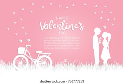 Valentine's card with bicycle, boy giving roses to a girl. In love couple on the yard with hearts and sweet pink background. Text Happy Valentine's day in paper cut style. Vector illustration.