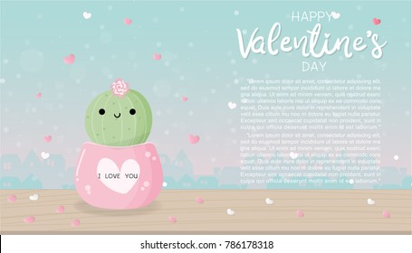 Valentine's card with cute smiling cactus on a wooden table, sweet pastel color background with city on the back. Vector illustration.