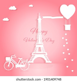 Valentines card with Eiffel tower, bicycle with heart balloons and hearts flying on pink background.Vector illustration.