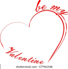 Valentine's card with heart sign and be my Valentine phrase