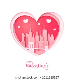 Valentines card. Paper cut heart and city of New York. Happy Valentine day. Vector illustration.