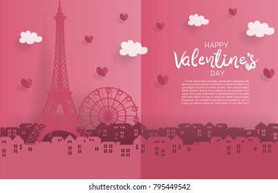 Valentine's card with paper cut style with Eiffel tower. Paris France symbol with hearts and cloud, city. Vector illustration.