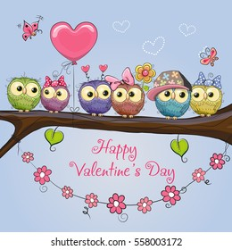Valentines card with six cute Owls on the branch