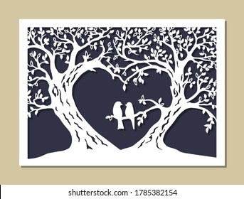 Valentines card. Trees silhouette. The wedding wish tree in the shape of a heart with couple bird. Variant of design for your family tree. Laser cutting template. Stencil. Die cut vector illustration.