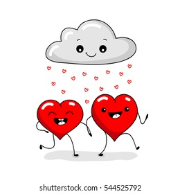 Valentine's card with two kawaii red love heart. Raining