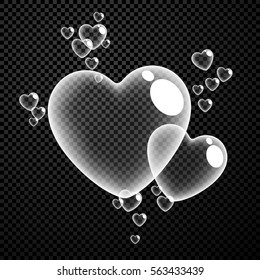 Valentine's checkered love background with bubbles of hearts. Vector illustration.