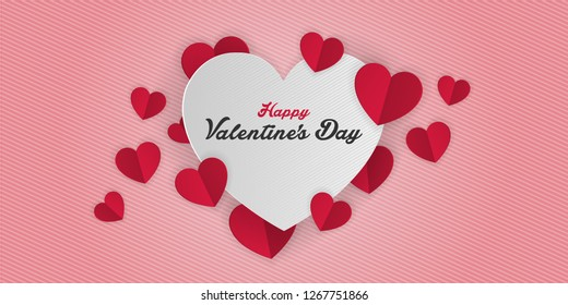 valentines day, 14th February, cut paper hearts romantic love day Celebration card vector illustration
