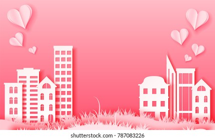 Valentine's day 3d abstract paper cut illustration of paper town with pink heart. Vector colorful template in carving art style. Love and City scape concept.