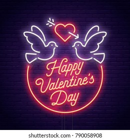 Valentine's day. 3d neon sign. Realistic neon sign. Love day banner, logo, emblem and label. Bright signboard, light banner.