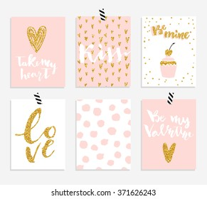 Valentines day 6 cards collection with hand drawn lettering. Brush design elements. Handwritten modern gold textured lettering.