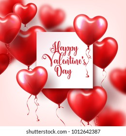 Valentine's day abstract background with red 3d balloons. Heart shape. February 14, love. Romantic wedding greeting card.Women's, Mother's day.