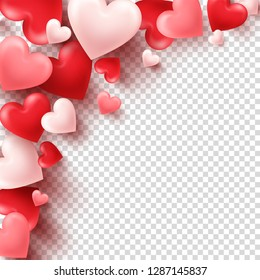 Valentines day abstract background. White, red, pink 3d heart. February 14, love. Romantic wedding greeting card.