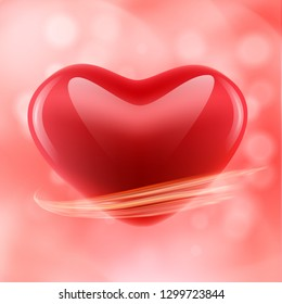 Valentines day abstract pink background with shiny heart, bokeh and light wave. 14 February. Vector illustration. Wallpaper, flyers, invitation, posters, banners