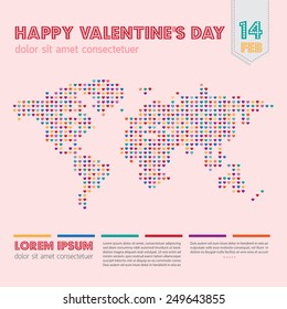 Valentine's day all around the world layout with colorful dots heart world map and pink background.