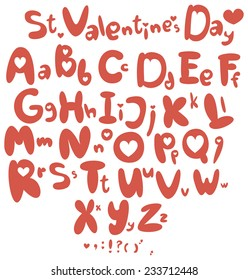 Valentine's Day alphabet. ABC Love. Saint Valentine's Day Font.