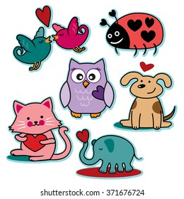 Valentines day animal characters