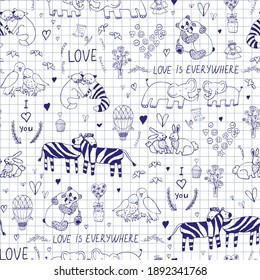 Valentine's day animals couples hand drawn seamless vector pattern